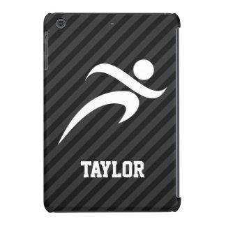 Funcionamiento; Rayas negras y gris oscuro Fundas De iPad Mini