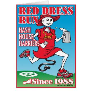 Funcionamiento rojo del vestido tarjeta de felicitación