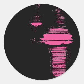 Funcionamiento rosado de la media pegatina redonda