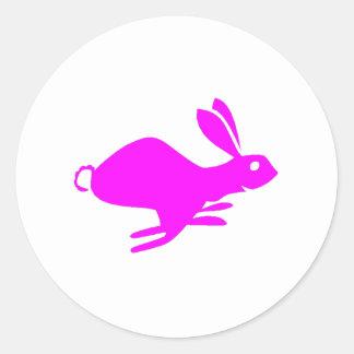 Funcionamiento rosado del conejo pegatinas redondas