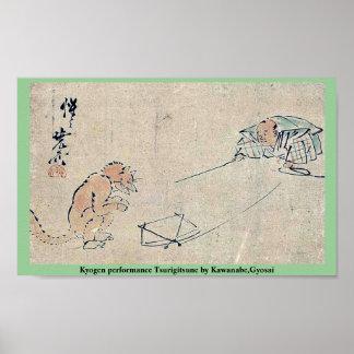 Funcionamiento Tsurigitsune por Kawanabe, Gyosai d Poster