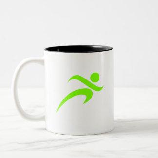 Funcionamiento verde chartreuse, de neón taza de dos tonos