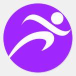 Funcionamiento violeta de la púrpura etiqueta redonda
