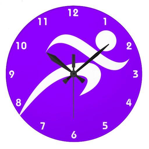 Funcionamiento violeta de la púrpura reloj redondo grande