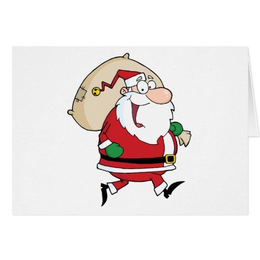 Funcionamientos de Papá Noel con el bolso Tarjeta De Felicitación
