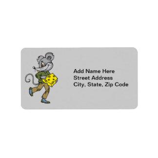 Funcionamientos del ratón con queso etiqueta de dirección
