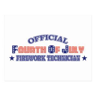 Funcionario cuarto 4to del técnico del fuego artif postales