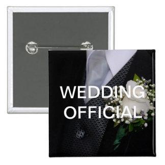 Funcionario del boda pin cuadrado