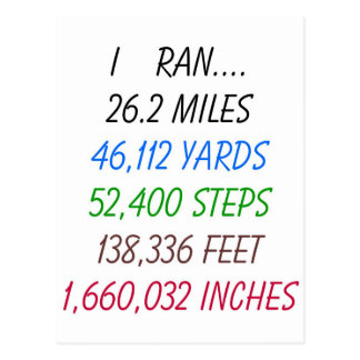Funcioné con 26,2 millas tarjetas postales
