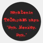 Funcione con, Monkey a los pegatinas Pegatinas Redondas