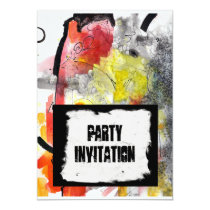 party, invitations, funcky, modern, hip, halloween, red, abstract, original, art, ginette, fresh, birthday, fete, gratuation, cocktail party, Invitation with custom graphic design
