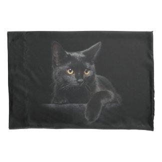 Funda de almohada del gato negro (2 lados) funda de cojín