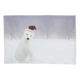 Funda de almohada del oso polar del navidad (1 funda de cojín