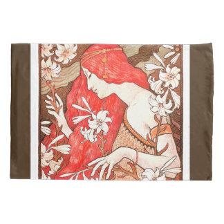 Funda de almohada floral de la flor de la señora y funda de cojín
