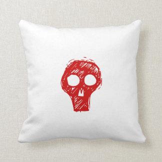 Funda de almohada roja del Scull del Grunge para l