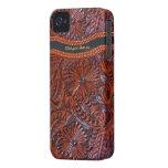 funda-personalizable floral de cuero del iphone iPhone 4 Case-Mate cobertura