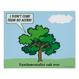 Fundamentalist Oak Tree Cartoon Posters