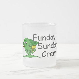 Funday Sunday Crew (Fish) Frosted Glass Coffee Mug