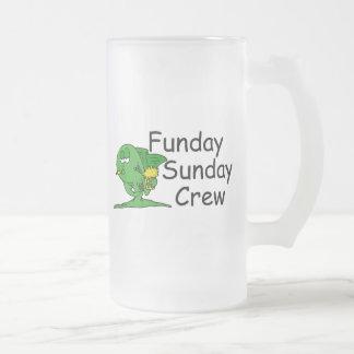 Funday Sunday Crew Fish 16 Oz Frosted Glass Beer Mug