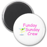 Funday Sunday Crew Pink 2 Inch Round Magnet
