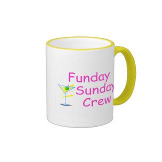 Funday Sunday Crew Pink Ringer Coffee Mug