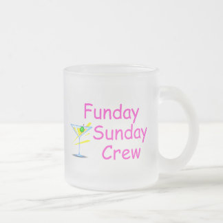 Funday Sunday Crew Pink 10 Oz Frosted Glass Coffee Mug