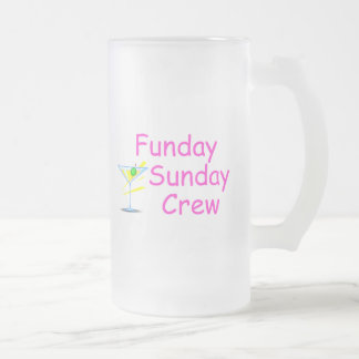 Funday Sunday Crew Pink 16 Oz Frosted Glass Beer Mug