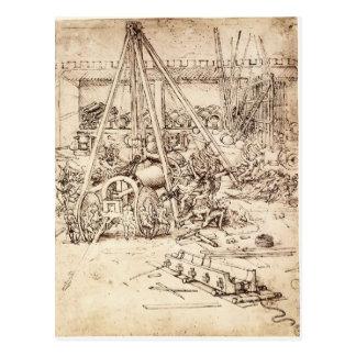 Fundición del cañón de Leonardo DA Vinci- Tarjetas Postales