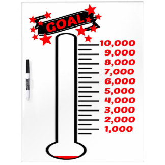 Fundraising Goal Thermometer 10K Goal Dry-Erase Board