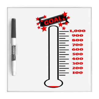 Fundraising Goal Thermometer 1K Goal Dry Erase Board