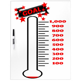 Fundraising Goal Thermometer 1K Goal Dry-Erase Boards