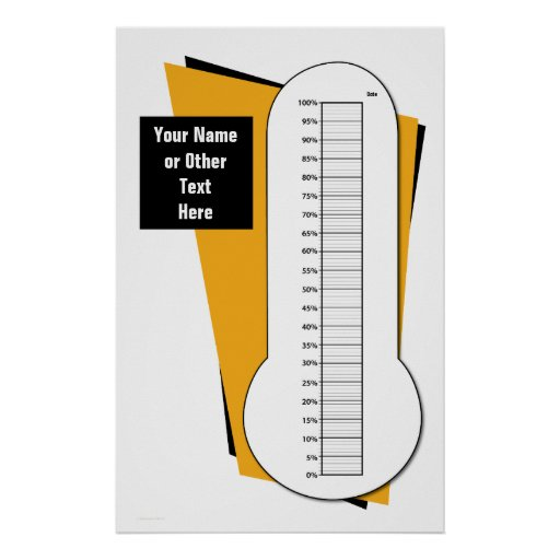 Fundraising Thermometer by Percentage Print