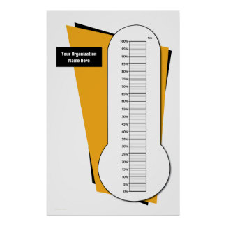Fundraising Thermometer by Percentage Poster