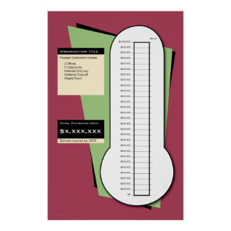 Fundraising Thermometer Including Date Column Poster