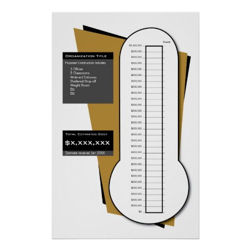 Fundraising Thermometer Including Date Column Print