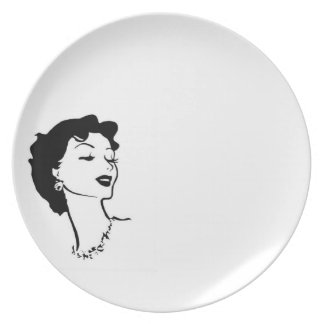 Funel Woman Graphic French Vintage Black White Melamine Plate