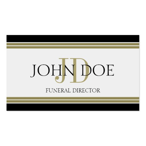 Funeral Director Black Gold Stripes Business Card Template