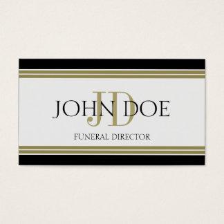 Funeral Director Black Gold Stripes Business Card