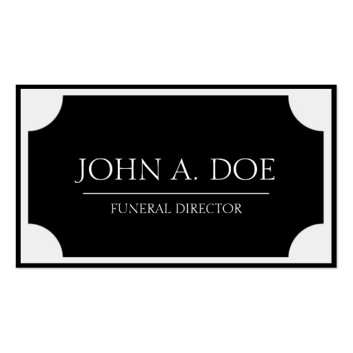 Funeral Director Black Plaque/Border White Double-Sided Standard Business Cards (Pack Of 100)