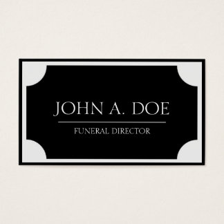 Funeral Director Black Plaque/Border White Business Card