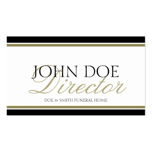 Funeral Director Gold Script Business Cards