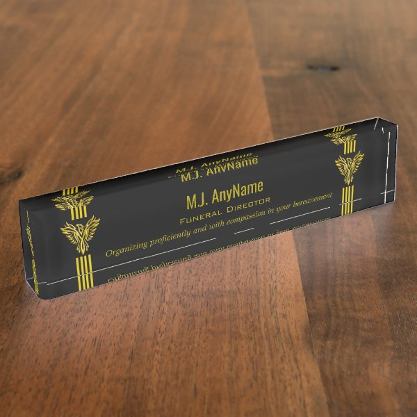 Funeral Director gold stripes and rising phoenix Name Plate