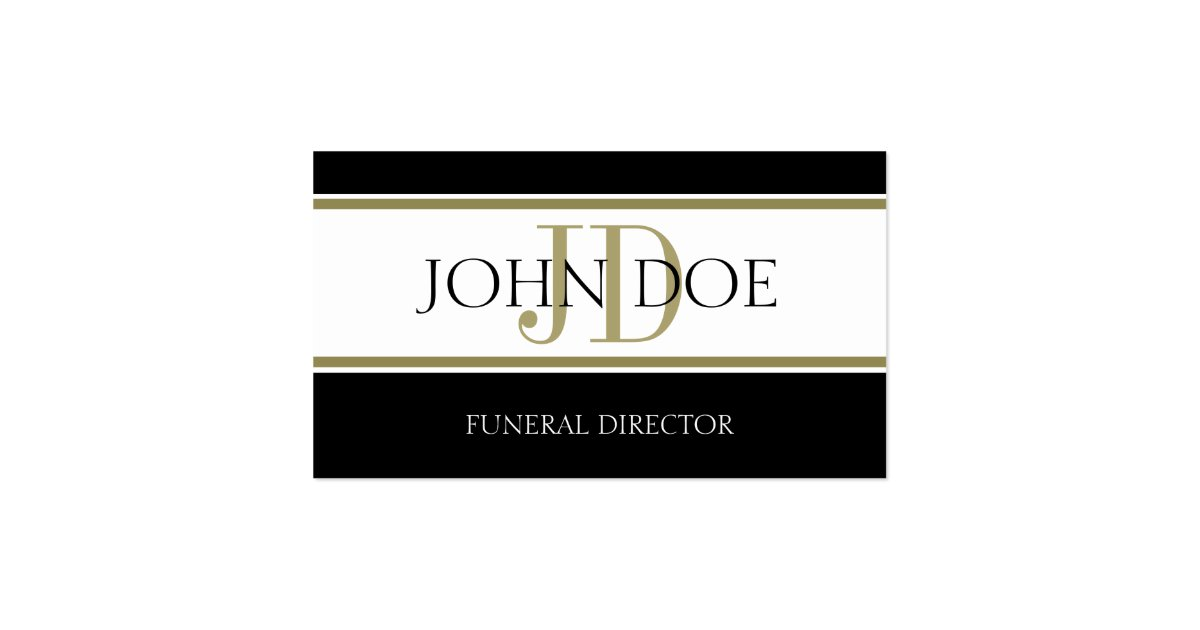Funeral Director Gold Stripes Business Card Zazzle