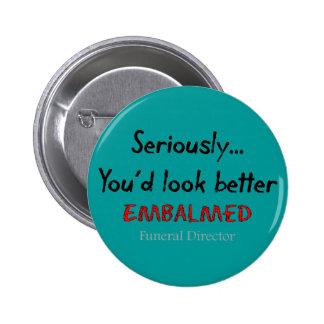 Funeral Director/Mortician Funny Hearse Design Pinback Button