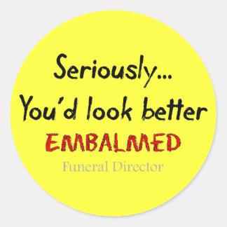 Funeral Director/Mortician Funny Hearse Design Round Sticker