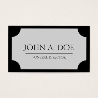 Funeral Director Silver Plaque/Black Business Card