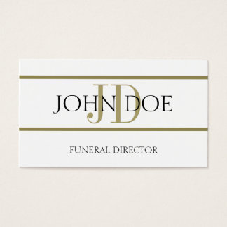 Funeral Director White/Gold Stripe Business Card
