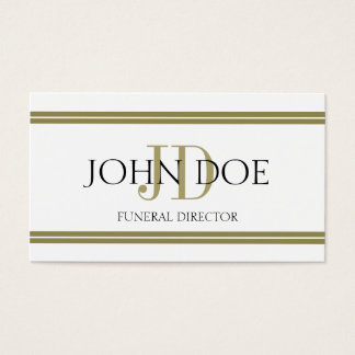 Funeral Director White/Gold Stripes Business Card