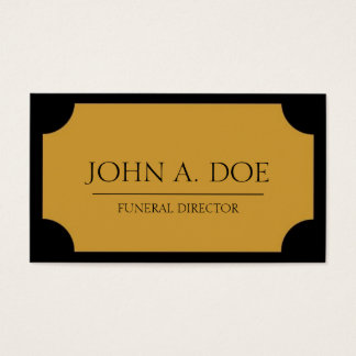 Funeral Director Yellow Gold Plaque/Black Business Card