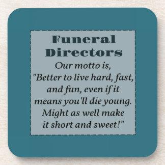 Funeral directors beverage coaster